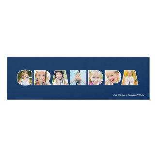 GRANDPA Photo Custom Frame- Navy Panel Wall Art