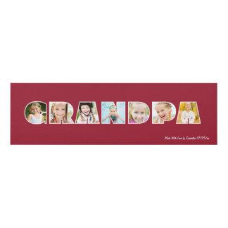 GRANDPA Photo Custom Frame- Red Panel Wall Art