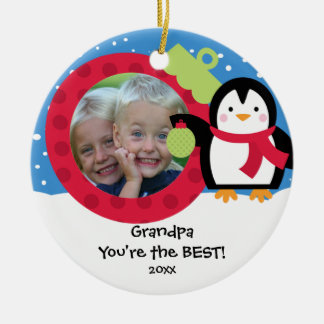 Grandpa Photo Penguin Christmas Ornament