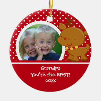 Grandpa Photo Reindeer Christmas Ornament