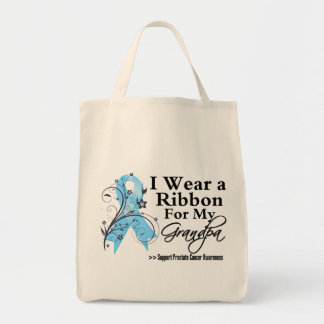 Grandpa Prostate Cancer Ribbon Grocery Tote Bag