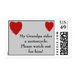 Grandpa rides a Motorcycle, watch out for him Postage