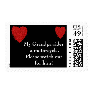 Grandpa rides a Motorcycle, watch out for him Postage Stamp