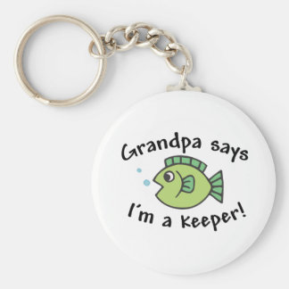 Grandpa Says I'm a Keeper! Basic Round Button Keychain