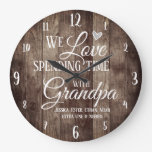 Grandpa Spending Time with Custom Name Large Clock