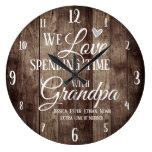 Grandpa Spending Time with Custom Name Large Clock