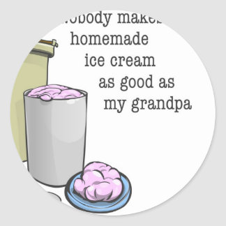 Grandpa the ice cream maker classic round sticker