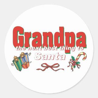 Grandpa, The Next Best Thing To Santa Classic Round Sticker