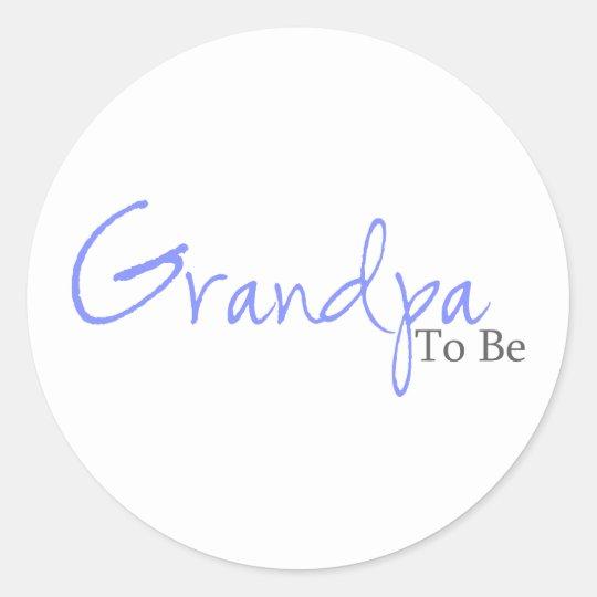 Grandpa To Be (Blue Script) Classic Round Sticker
