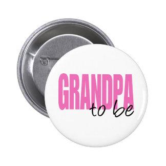 Grandpa To Be (Pink Block Font) Pinback Button