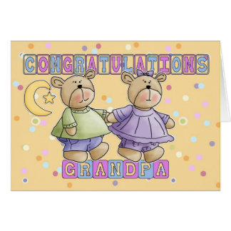 Grandpa To New Baby Twins Congratulations Greeting Card