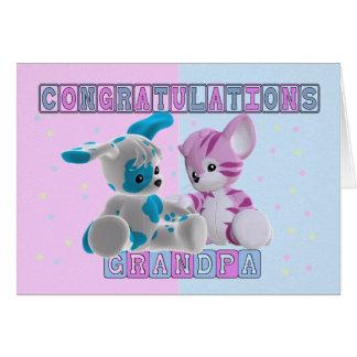Grandpa To Twins Congratulations Card