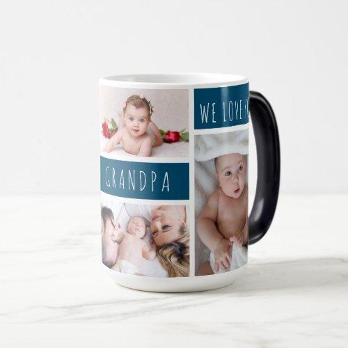 Grandpa We Love You Photo Collage Magic Mug
