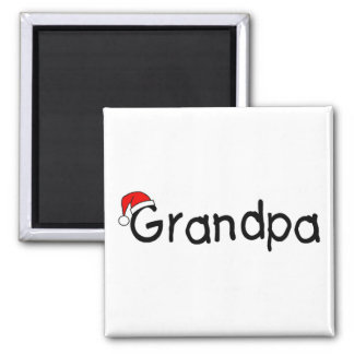 Grandpa With Santa Hat Magnets