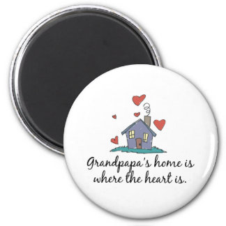 Grandpapa's Home is Where the Heart is 2 Inch Round Magnet