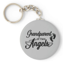 Grandparent of Two Angels Twins Keychain