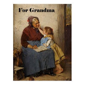 Grandparent's Day Grandma Granddaughter Painting Postcard