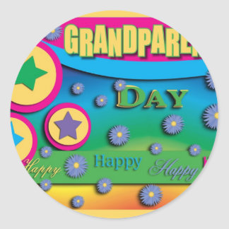Grandparent s Day Stars and Blue Flowers Sticker