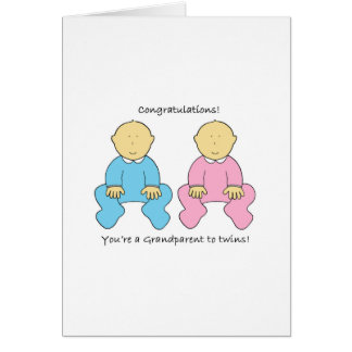 Grandparent to twins congratualtions. greeting card