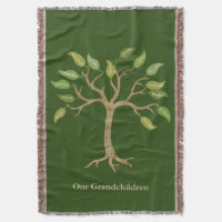 Grandparent's 14 Leaf Tree Green Throw Blanket
