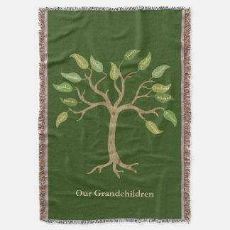 Grandparent's 14 Leaf Tree Green Throw Blanket