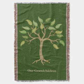 Grandparent's 17 Leaf Tree Green Throw Blanket