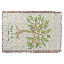 Grandparent's 26 Leaf Tree Throw Blanket