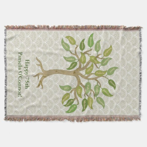 Grandparents 26 Leaf Tree Throw Blanket