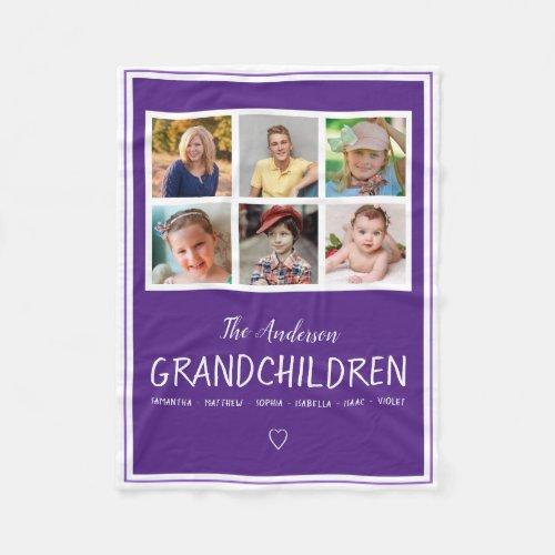 Grandparents 6 Photo Collage Personalized Purple Fleece Blanket