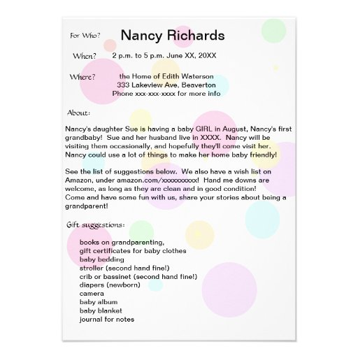 Grandparents Baby Shower Invitation - Girl Baby