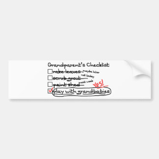 Grandparents' Checklist Bumper Sticker