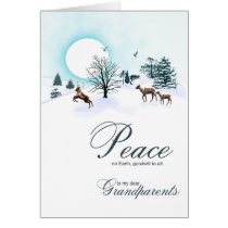 Grandparents, Christmas scene with reindeer Card