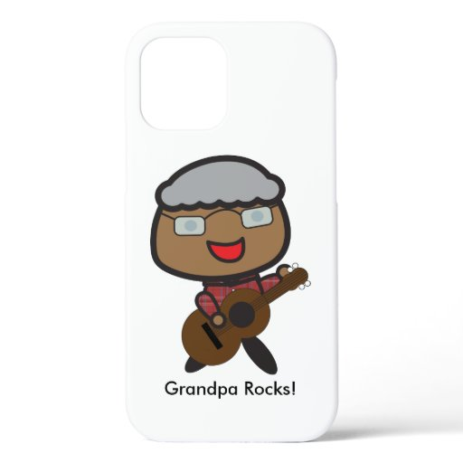 Grandparents Day Black Grandpa Rocks Personalize iPhone 12 Case