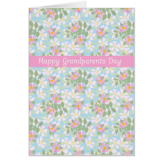 Grandparents Day Card: Pink Dogroses on Blue Greeting Card