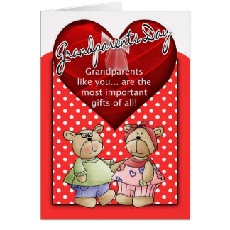 Grandparents Day Card - Red And White Polka Dot Wi