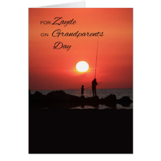 Grandparents Day for Zayde, Fishing at Sunset Card