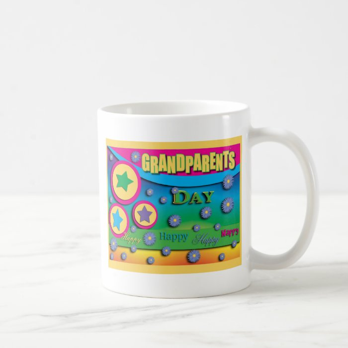 Grandparent's Day, Stars and Blue Flowers Coffee Mug