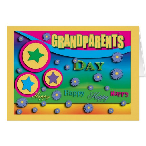Grandparent's Day, Stars and Blue Flowers Greeting Card