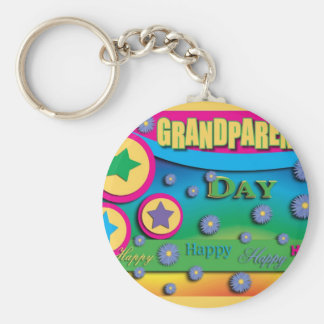 Grandparent's Day, Stars and Blue Flowers Keychain