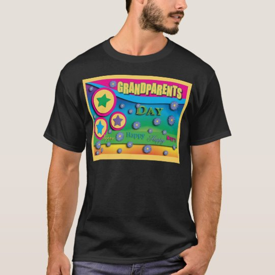 Grandparent's Day, Stars and Blue Flowers T-Shirt