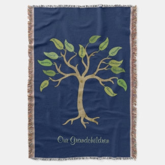 Grandparent's Family Tree Throw Blanket