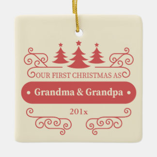Grandparents First Christmas Square Ornament