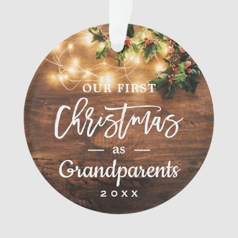 Grandparents First Christmas String Lights Photo Ornament