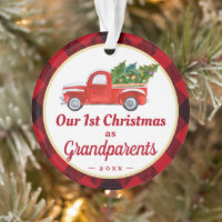 Grandparents First Christmas Truck Red Plaid Photo Ornament