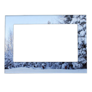 Grandparents Gift-Snow Covered Pines Magnetic Picture Frame