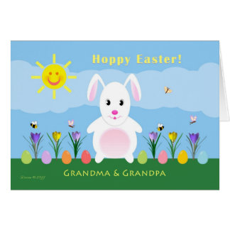 Grandparents Hoppy Easter - Easter Bunny Greeting Card