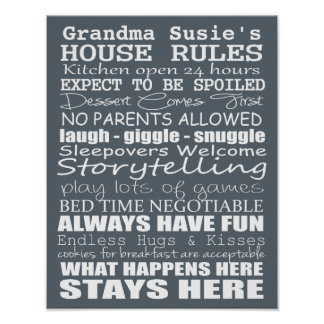Grandparents House Rules - Customize Yours! Poster