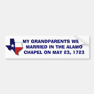 GRANDPARENTS MARRIED AT ALAMO 1723 BUMPER STICKER