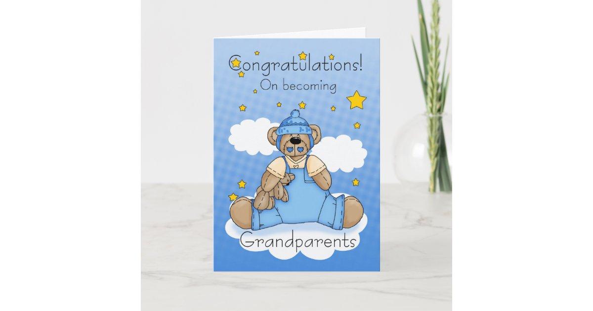 Grandparents new baby boy congratulations card zazzle m4hsunfo