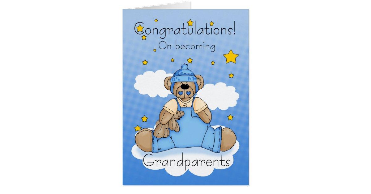 Grandparents New Baby Boy Congratulations Card Zazzle